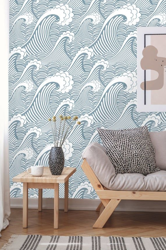 Removable Wallpaper Peel And Stick Great Wave Wallpaper Blue Waves Self Adhesive Wall Mural Removable Wallpaper Waves Wallpaper Peel And Stick Wallpaper