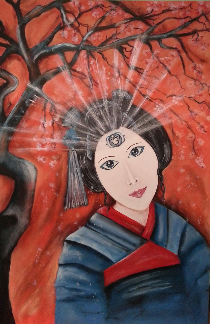 """""""Akari"""" , meaning (Light, Brightness) is a beautiful Geisha Spirit Guide. Her eyes and mind are as one, she emanates peaceful thoughts and radiates warm calm energy. She is awaiting her owner to call on her.  Third Eye Chakra is the 6th Chakra which we refer to as """"the sixth sense"""". It assists in connecting us to our internal intuitions and sharp senses."""
