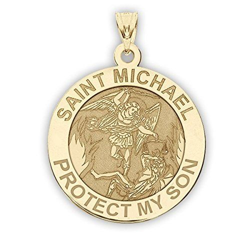 CHAIN IS NOT INCLUDED  Available in Solid 10K &14K Yellow or White Gold or Sterling Silver  Size Reference:  17mm is the size of a US dime  19mm is the size of a US nickel  25mm is the size of a US quarter  Click here to View All Saint Michael Family Member Medals Michael is the Archangel mentioned in the Book of Revelation 12:7. In the Old Testament Michael is mentioned by name in the Persian context of the Book of Daniel. He is generally presented as the field commander of the Army of God…