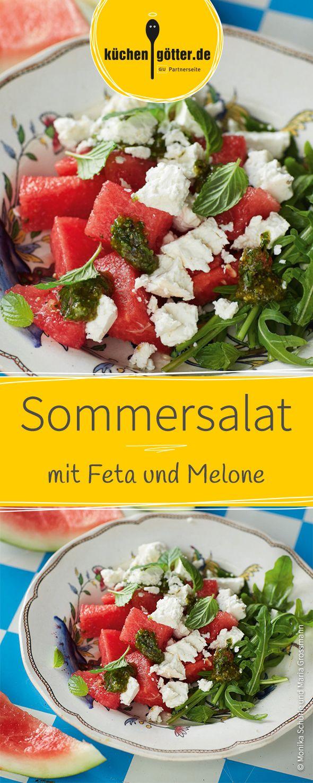 Der perfekte Sommersalat: Wassermelone, Feta und edles Pistazien-Minz-Pesto.