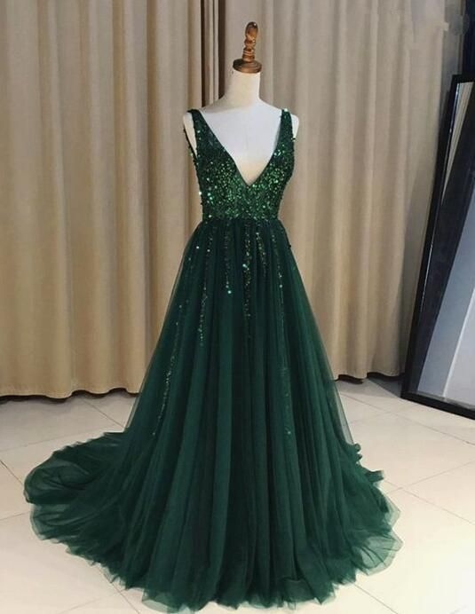 Tulle Dark Green Sparkly Sequins Beaded V-neck Prom Dresess da41cd4e4046