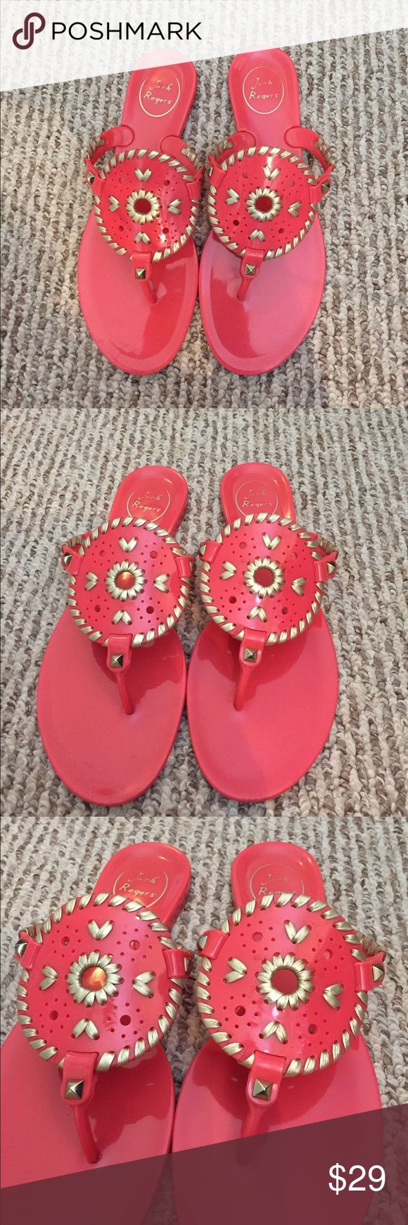 Jack Rogers Women's Jelly sandals size 7 Coral Used a handful of times Women's Jack Rogers Jelly sandals size 7 Coral. No trades. Price is firm. Thanks for shopping with us! Jack Rogers Shoes Sandals