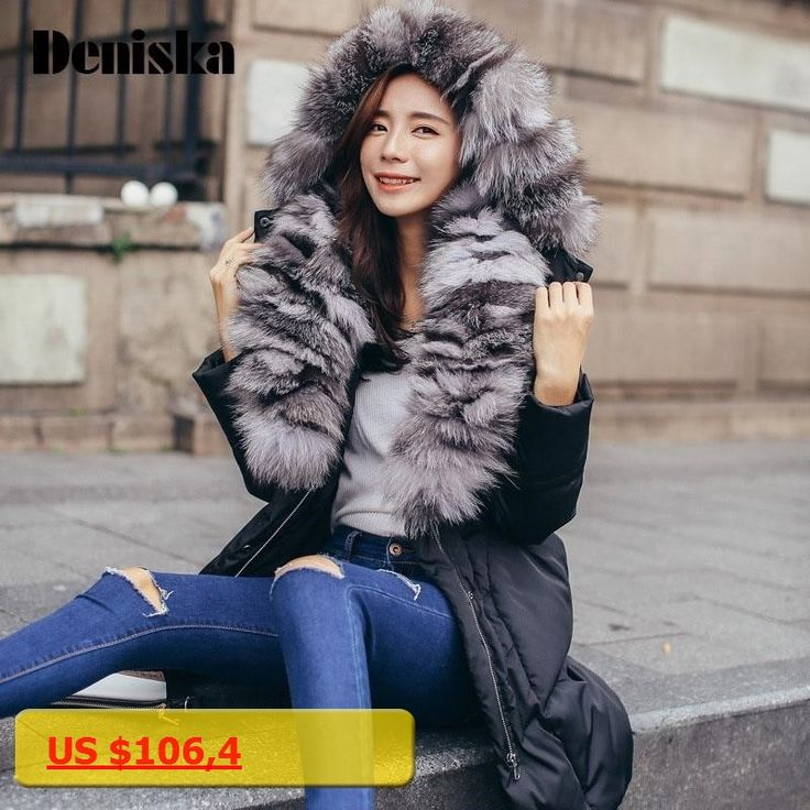 DENISKA Real Fox Fur 2017 Winter Jacket Women Natural Fur Collar Hooded Down Jacket For Women Winter coat female Parka