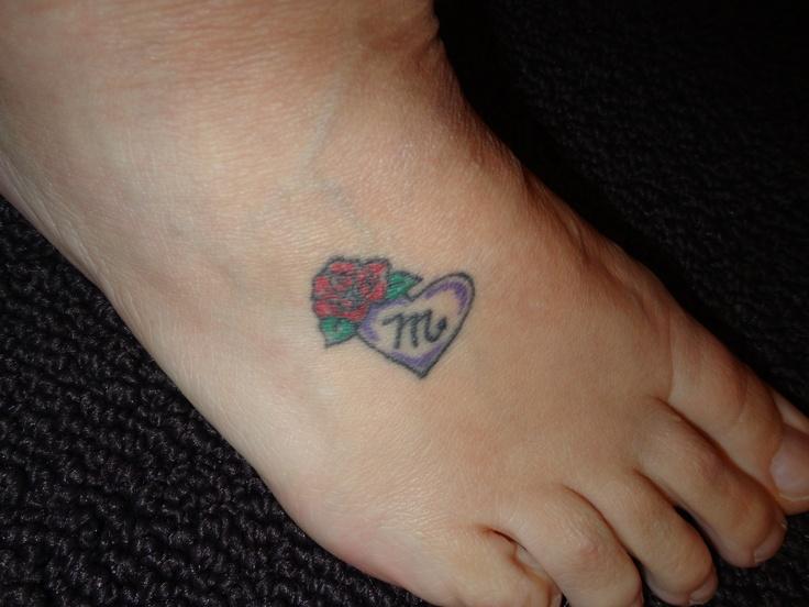 Gaelic symbol for scorpio, purple heart, & red rose tattoo
