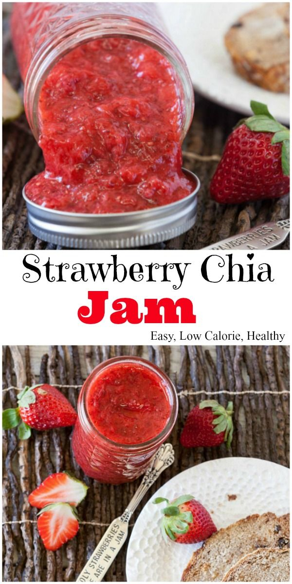 Strawberry Jam made with Chia Seeds, no refined sugar, easy, healthy ingredients