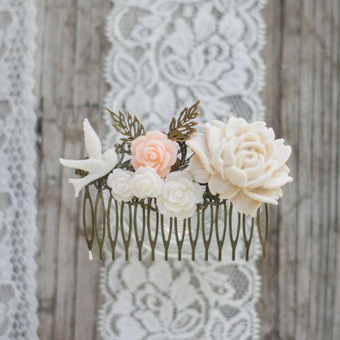barrette peigne fleurs nude accessoire cheveux mariage mariage vintage accessoires coiffure par save - Epingle Cheveux Mariage