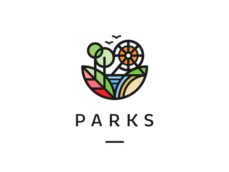 Parks - Logo Design - Logomark, Type, Park, City, Leafs, Trees, Ferris Wheel, Birds, Thick Lines, Colorful, Green, Red, Orange, Brown, Black