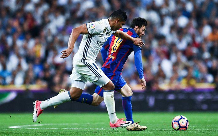 Descargar fondos de pantalla Carlos Casimiro, el Real Madrid, Lionel Messi, Barcelona, fútbol España, La Liga bbva