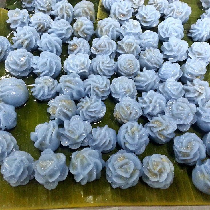 Preparation for our Asian rice dumplings filled with nuts the blue color is derived from #Bluechai flowers