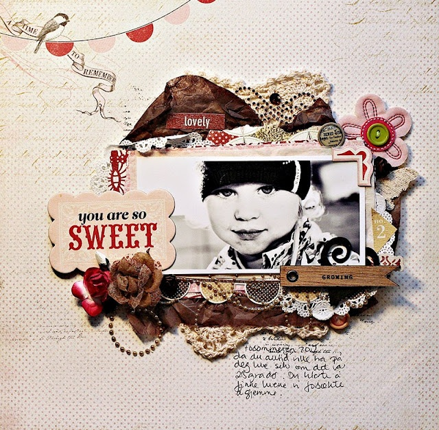 UmeNorskans scrapbookblogg: You are so sweet. Christin Gronnslett using Carta Bella paper