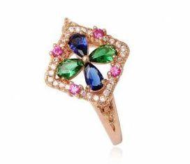 MEDENY prsten multicolor s kubickymi zirkonmi strieborny