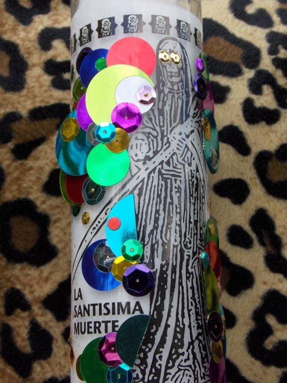 La Santisima Muerte (Saint Death) Votive Candle with Rainbow Deco-Style Sequins