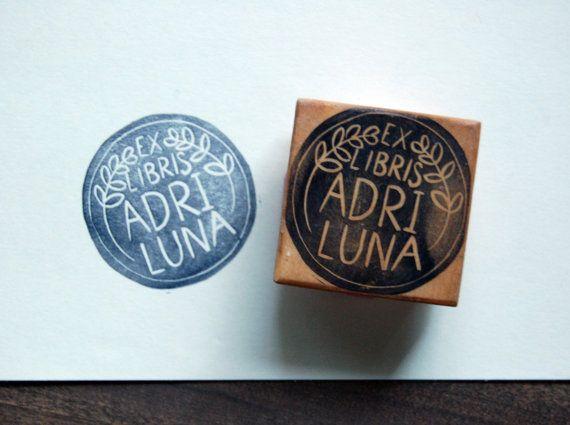 Custom Ex Libris Stamp  1.5 inch Round by KelseyPike on Etsy