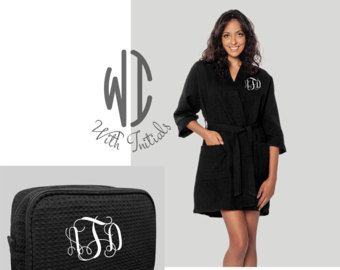 Set of Monogrammed Waffle Robe  and large cosmetic bag