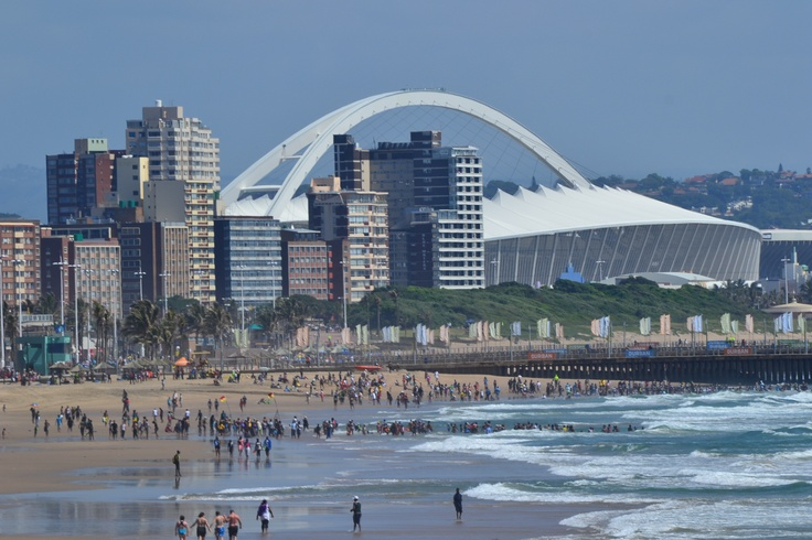 Moses Mabhida Stadium from Durban sea beach