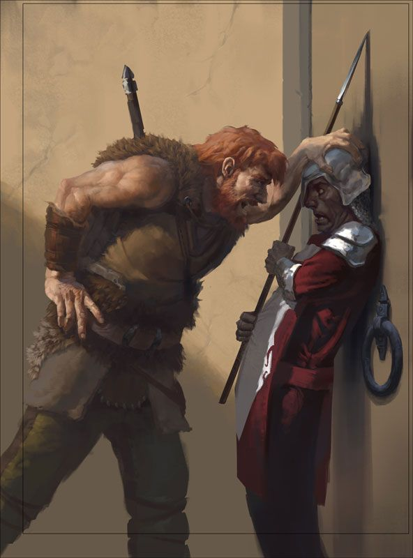 Barbarian/Intimidation (from the 5e Dungeons & Dragons Player's Handbook). Art by Mark Behm.