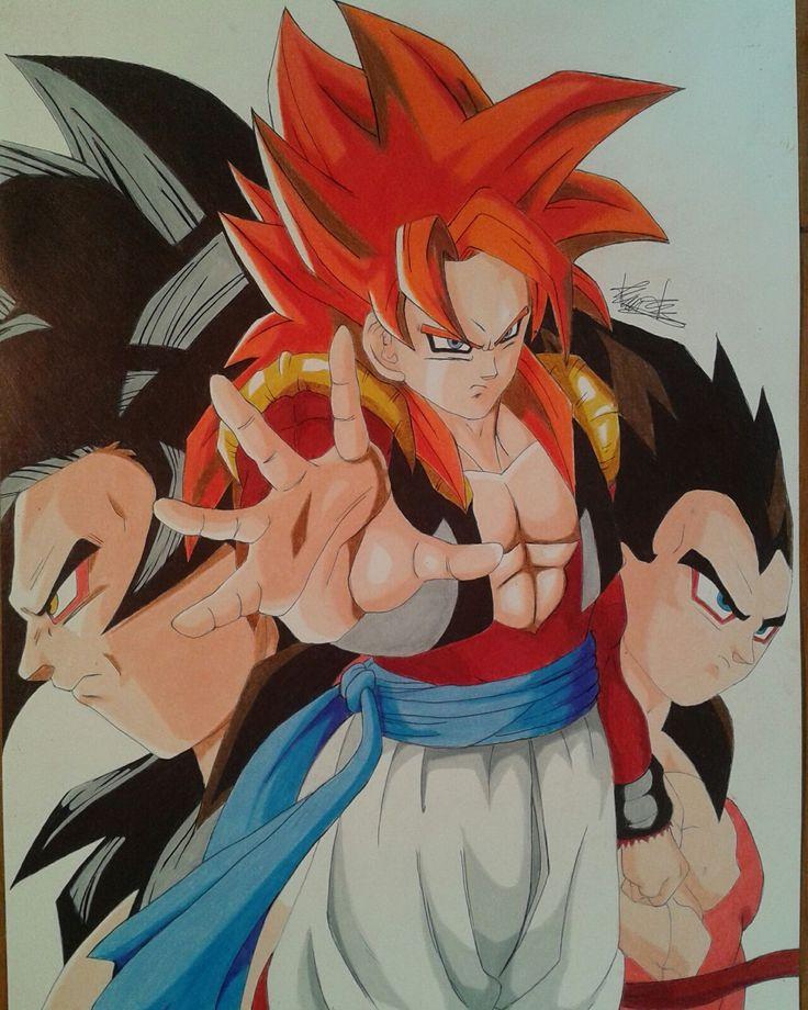 Prismacolor colored pencil drawing of Gogeta/goku/vegetaSSJ4 #goku #vegeta #gogeta #ssj4 #dbz #dragonballz #dragonballgt