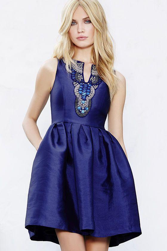 Heart Skips a Bead Royal Blue Skater Dress