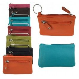 Genuine Leather Multi Colours Men Women Zippered Wallet Coin Purse Key Ring Pouch