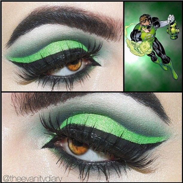 sugarpillmakeup:    Beautiful Green Lantern inspired look by @theevanitydiary using #Sugarpill Absinthe eyeshadow and Flutter false eyelashes! #eotd #greenlantern