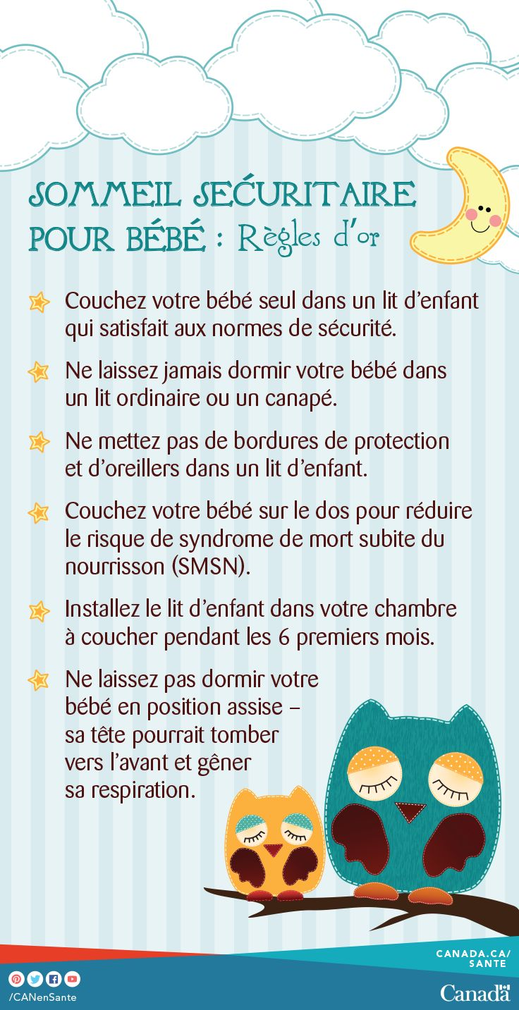 Apprenez comment créer un environnement de sommeil sécuritaire pour votre bébé : http://canadiensensante.gc.ca/healthy-living-vie-saine/sleep-sommeil/tips-conseil-fra.php?utm_source=pinterest_hcdns&utm_medium=social_fr&utm_content=mar28_safesleep9&utm_campaign=social_media_14