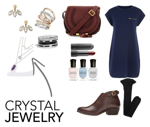 """""""Crystal Jewelry Contest Enrty"""" by chloehall1 ❤ liked on Polyvore featuring Betsey Johnson, Wallis, Yves Saint Laurent, Steve Madden, Chloé, GUESS and Deborah Lippmann"""
