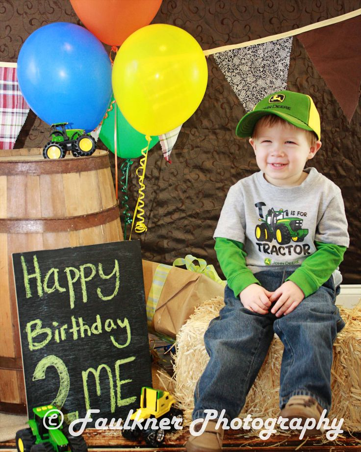 John Deere Green Themed Birthday Portrait Session - 2nd Birthday Picture ideas