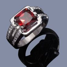 Free Shipping R005WRG Fashion New Men's Jewelry Delicate Red Garnet 18K White Gold Filled Hot Wedding Ring Gift Wholesale Sale