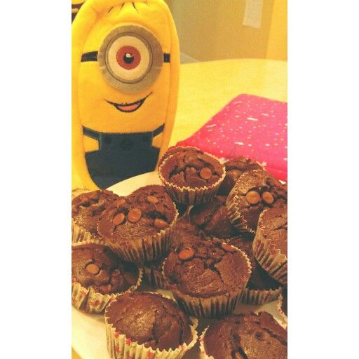 "He said ""me want"" -- chocolate muffins #Minion #Chocolate #muffins #yummy #delicious #homemade"