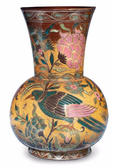 A Zsolnay Pecs Isnik-Inspired Lustre Pottery Vase or Lamp Base MAKER'S MARKS; CIRCA 1885 stylised birds, flowers and insects in pink, blue and green glazes, with gilded outline on a brown and yellow ground; custom-made hole to base height 30.5cm Bo16/L2,5eL