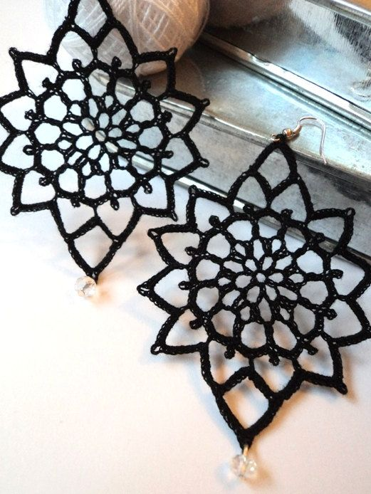 Black romantic lace earrings decorated with Swarovski crystals, crochet bold earrings, Victorian earrings; £10.99 GBP