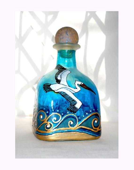 Pelican Glass Art Decanter Hand Painted Glass Patron Bottle