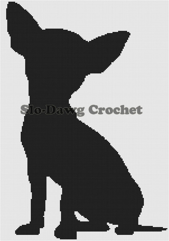 chihuahua silhouette sitting crochet graph by