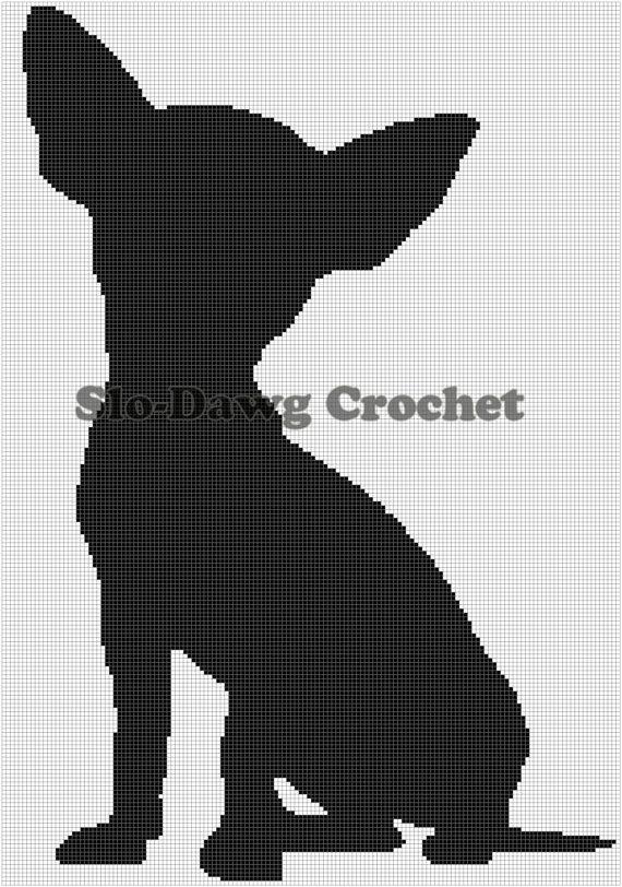 Chihuahua Silhouette  Sitting  crochet graph by SloDawgCrochet, $5.00