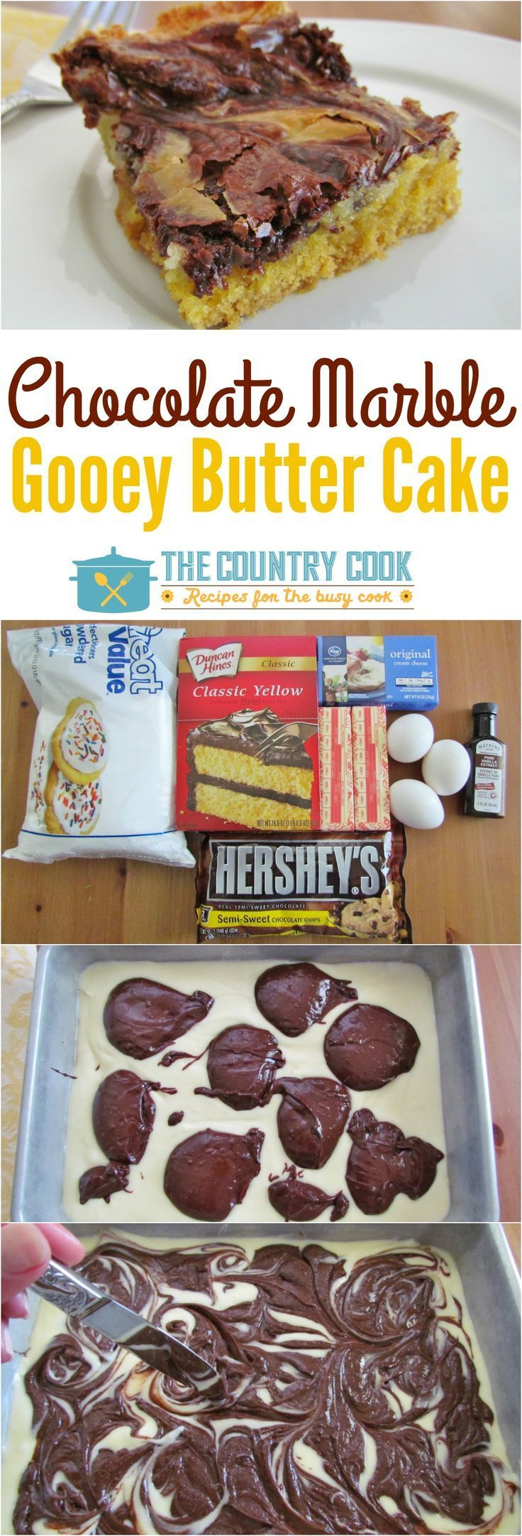Chocolate Marble Gooey Butter Cake is the best of both worlds. And it is so easy because it uses a boxed cake mix as the base! So yummy!