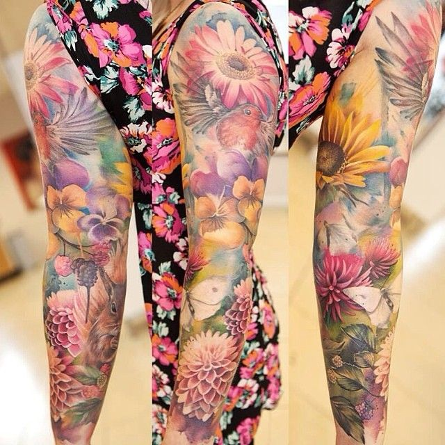 Incredible floral sleeve with birds and butterfly by the amazing Lianne Moule. I adore the pastel colors and water color look. So feminine and beautiful