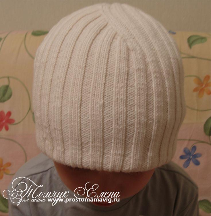 шапка-мужская-двойная-резинкой-спицами-описание