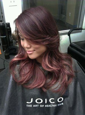 Mahogany base color with rose gold ombre hairstyle