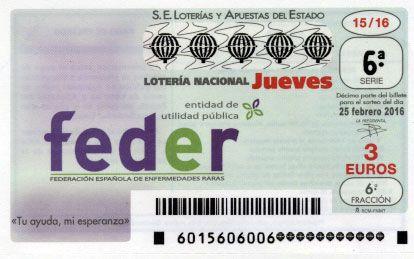 Lotería Nacional Jueves 25 de Febrero , colabora con FEDER , Federación Española de Enfermedades Raras, décimos a 3€, hazlo por ti, hazlo por todos! https://www.loteriasaleix.com/lottery.php