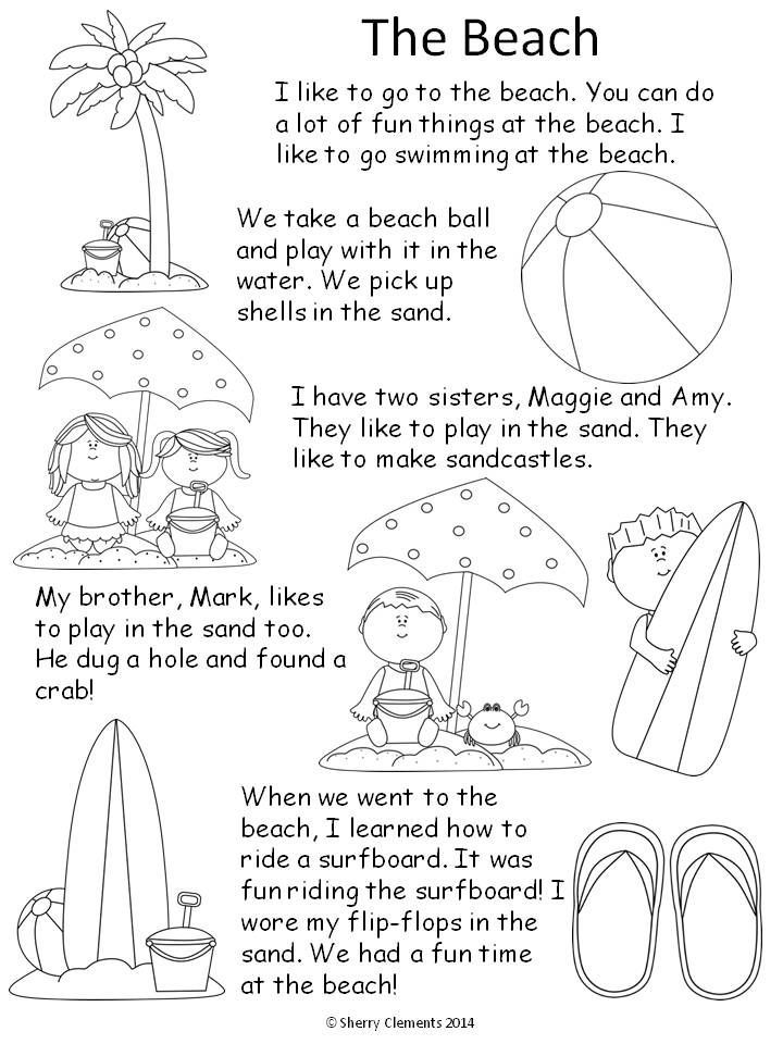 Reading Comprehension (kindergarten, 1st grade, 2nd grade) Beach Read and Write - short story and related fill in the blanks to check for reading comprehension - $