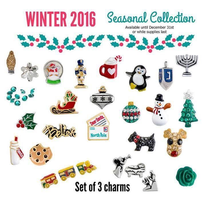 Holiday Origami Owl Winter 2016 - love the Xmas charms like the reindeer n penguin globe sled