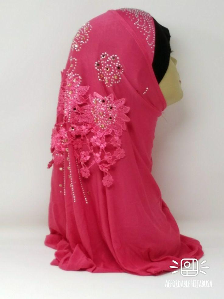 Amour Al Amira Hijab $24.99 Amour Al Amira Hijab with beautiful Lace Applique And Rhinestone Hot Pink 1pchttps://store13211292.ecwid.com/#!/Amour-Al-Amira-Hijab/p/101700322