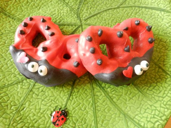 "Chocolate Dipped Valentine Ladybug Pretzel ""Love Bug"" Three Dozen on Etsy, $90.00"