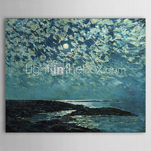 hand geschilderd olieverf landschap maanlicht eiland ondiepten met gestrekte frame klaar om op te hangen - USD $ 69.99