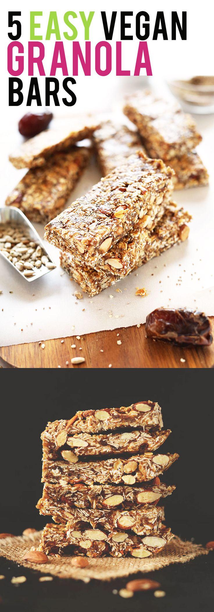 5 EASY Vegan Granola Bar Recipes! Wholesome ingredients with BIG flavor. #vegan