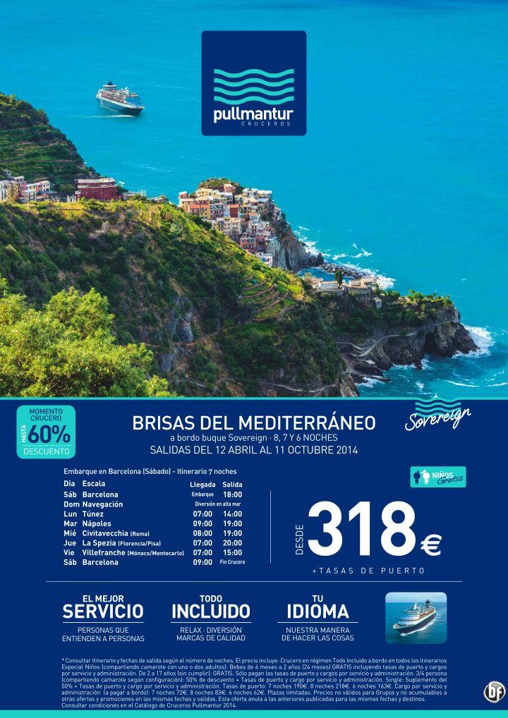 Crucero Brisas del Mediterráneo 2014 - Pullmantur TI desde 318€ - http://zocotours.com/crucero-brisas-del-mediterraneo-2014-pullmantur-ti-desde-318e/