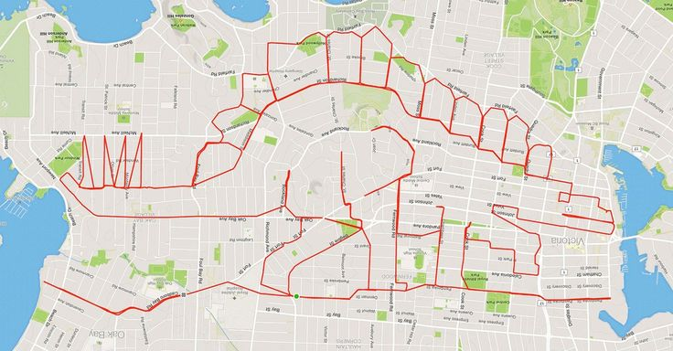 Biker creates a series of GPS routes that look like art pieces on maps.