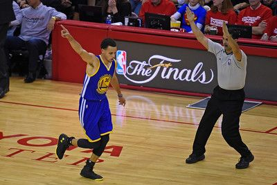 Description of . Golden State Warriors\' Stephen Curry (30) gestures after making a 3-point basket in the third quarter of Game 3 of the NBA Western Conference finals at Toyota Center in Houston, Texas., on Saturday, May 23, 2015. The Warriors defeated the Rockets 115-80. (Jose Carlos Fajardo/Bay Area News Group)