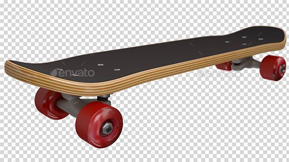 3D rendered, high quality skateboard. Fully transparent background. HD. 19201080 pixels. Four different textured wheels.