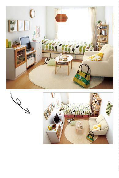 ベージュ系の家具にホワイト、アイボリーを組み合わせれば、ホッとくつろげる空間が完成。植物モチーフのベッドカバーやフレームでナチュラルさをアップ。